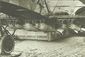 Bombs in position under the fuselage and wing of a Gotha bomber