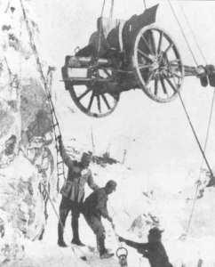raising gun in the Alps