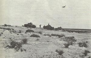 Stuka flies over panzer