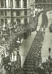 US troops march through London.