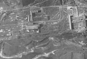 Air reconaissance photograph Schneider steelworks at Le Creusot