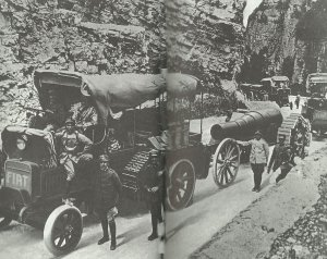 Italian mechanized transport coloumn retreats