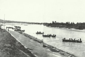 Infantry crosses a river in Northern Italy