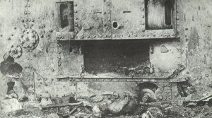 by artillery destroyed tank