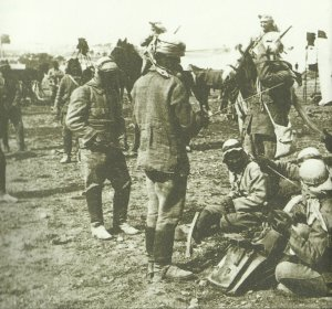 Turkish cavalry in a camp near Jerusalem