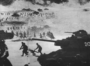 Russian mass assault with T-34 tanks and infantry