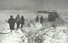 Retreat of German troops through the snow-covered steppe