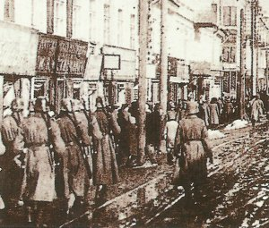 German troops enter a Russian city