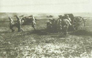 Turkish field guns in action with British troops