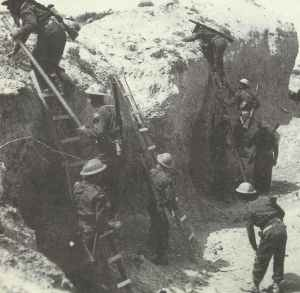 British troops using ladders to climb the sides of Wadi Zigzaou