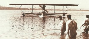 An Italian seaplane is returning to its base.