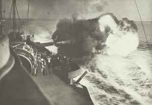 Battleship HMS Warspite bombards Catania.