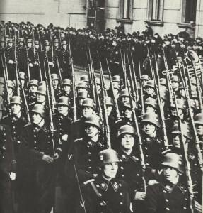 A parade of SS formations in black uniform in the pre-war period.