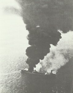 Allied freighter after a German air raid