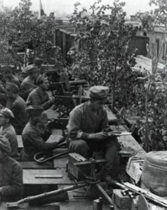 Czech soldiers in an armoured train