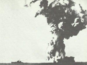 Italian battleship 'Roma' exploding