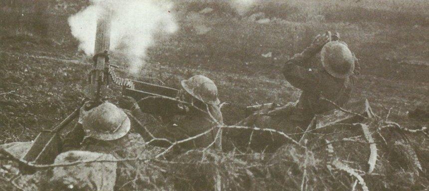 Vickers gun  fires at low-flying aircraft