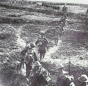 Canadian troops march forward