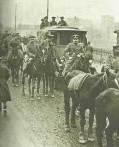 German soldiers march back