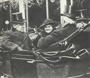 US President Wilson with his wife.