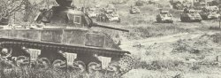 Sherman tanks advance to Monte Cassino