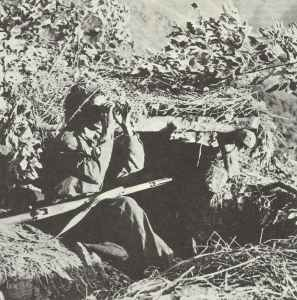 British soldier of an observation post in Burma