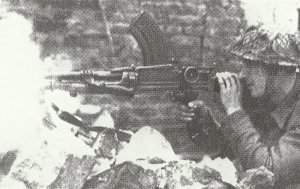 Bren machine gun in action