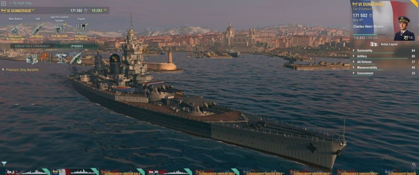 French battlecruiser Dunkerque in the port of Marseilles