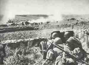 Soviet anti-tank gun supports the assault