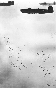 B-24 Liberators dropping bombs