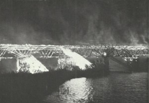 German troops set fire to a bridge