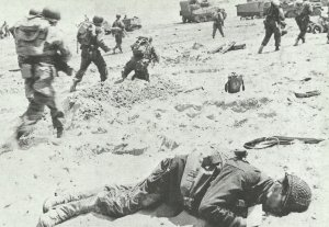 US infantry on Normandy Beach.