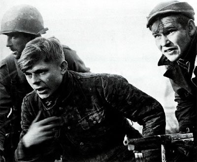 Young soldier of the Waffen SS captured by American paratroopers at Bastogne.
