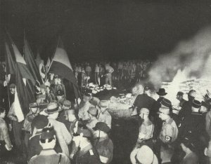 Book burning in Nazi Germany 1933.