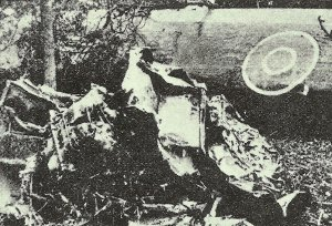 remains of a shot-down Halifax bomber