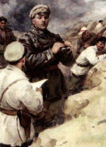 Voroshilov, in the trenches off Tsaritsyn