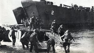 British troops unloaded at Salerno