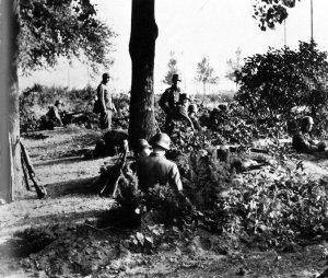 Waffen SS soldiers in positions near Oosterbeek.