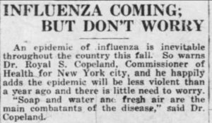 'Influenza coming - don't worry'