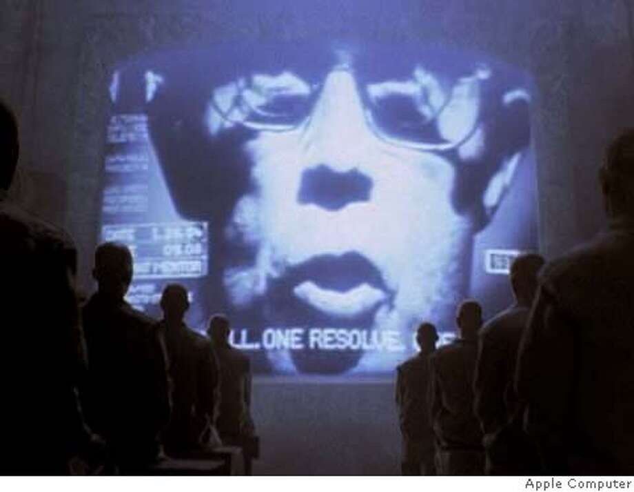 "A frame from the Apple ""1984"" commercial."