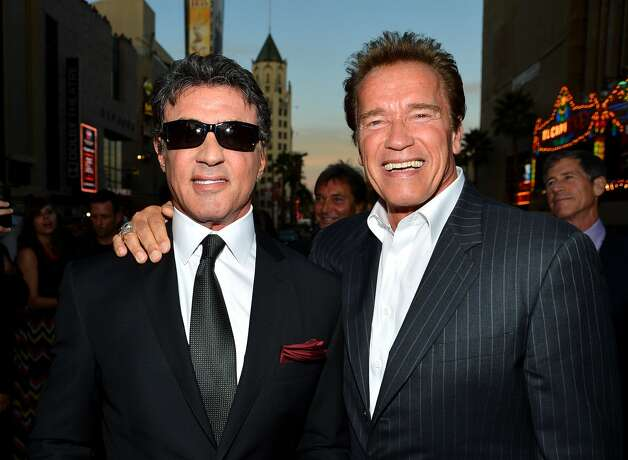 "Actor/writer/director Sylvester Stallone and actor Arnold Schwarzenegger arrive at Lionsgate Films'""The Expendables 2"" premiere on August 15, 2012 in Hollywood, California.  (Frazer Harrison / Getty Images) / SF"