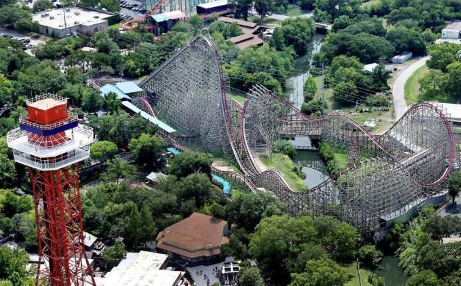This Aerial Photo Shows The Texas Giant Roller Coaster At Six Flags Over Where A