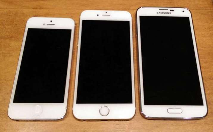 From left, the iPhone 5, iPhone 6, Samsung Galaxy S5.