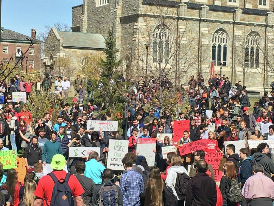 Students hold a protest on Wednesday, March 30, 2016, on the RPI campus in Troy, N.Y. Photo: Contributed Photo