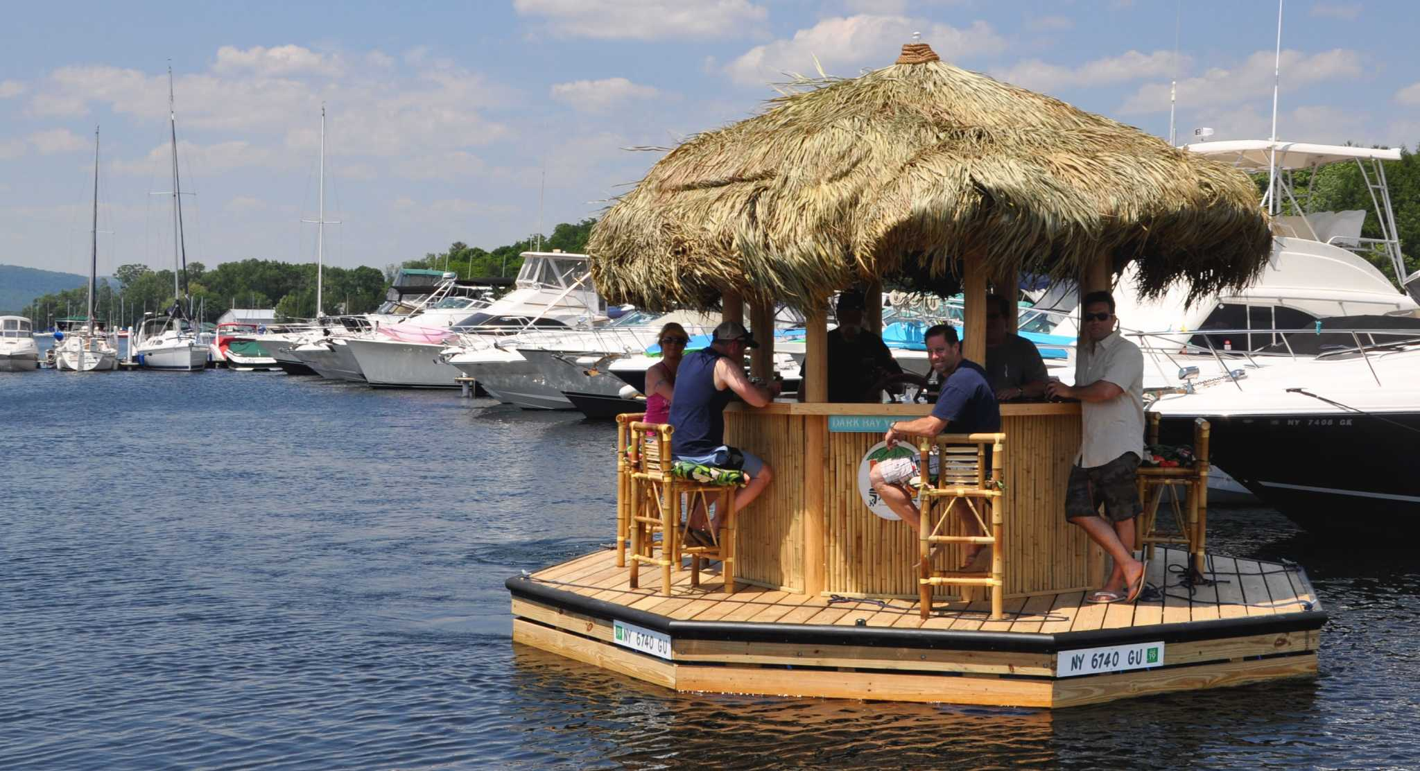 A First Look At Lake George Floating Tiki Bar Times Union