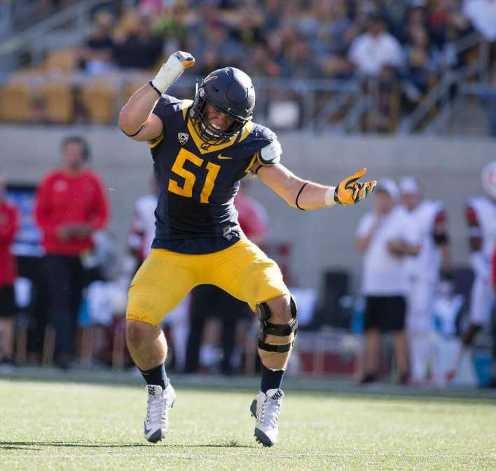 California's Cameron Saffle celebrates a defensive stop against Utah during the second quarter of a football game, on Saturday, Oct. 1, 2016 in Berkeley, Calif. Photo: D. Ross Cameron, Special To The Chronicle