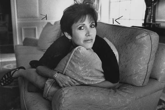 Carrie Fisher at the Four Seasons Hotel in Beverly Hills, for a Ruthe Stein story  09/25/1990