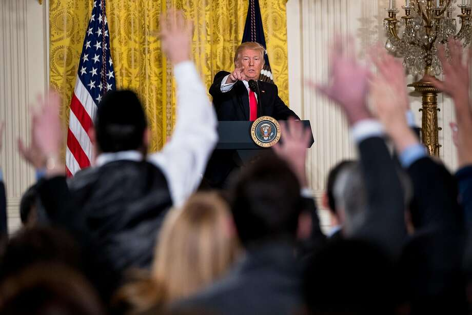 President Donald Trump calls on members of the press during a news conference, Thursday, Feb. 16, 2017, in the East Room of the White House in Washington. (AP Photo/Andrew Harnik) Photo: Andrew Harnik, Associated Press