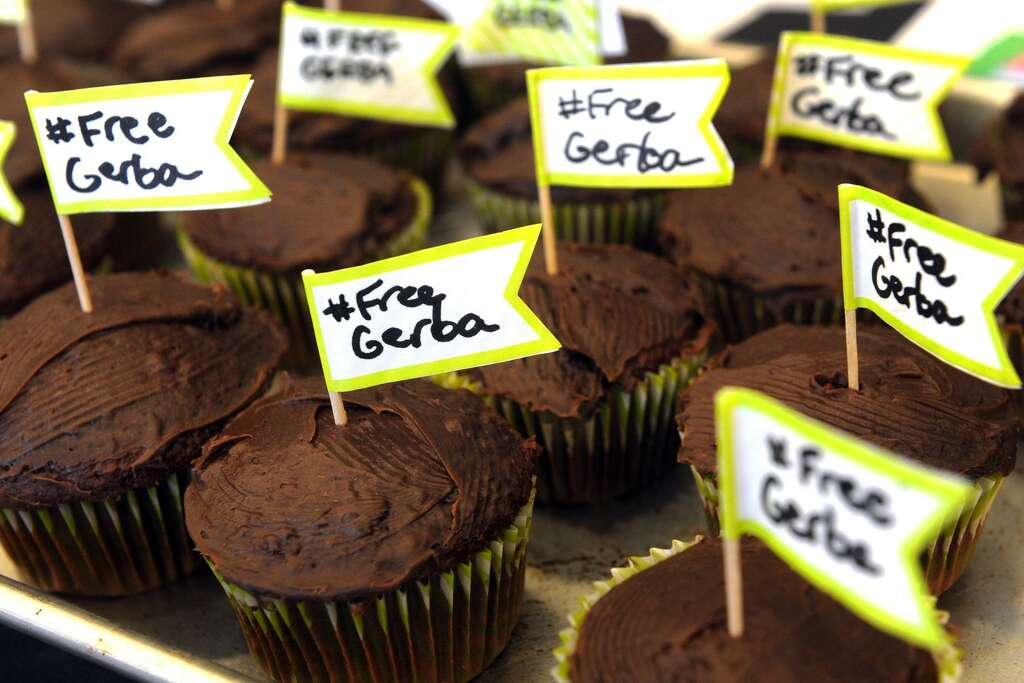 Students hold a cupcake bake giveaway to bring attention to the plight of Dr. Bekele Gerba, a political activist currently in prison in Ethiopia. Photo: Ned Gerard / Hearst Connecticut Media / Connecticut Post