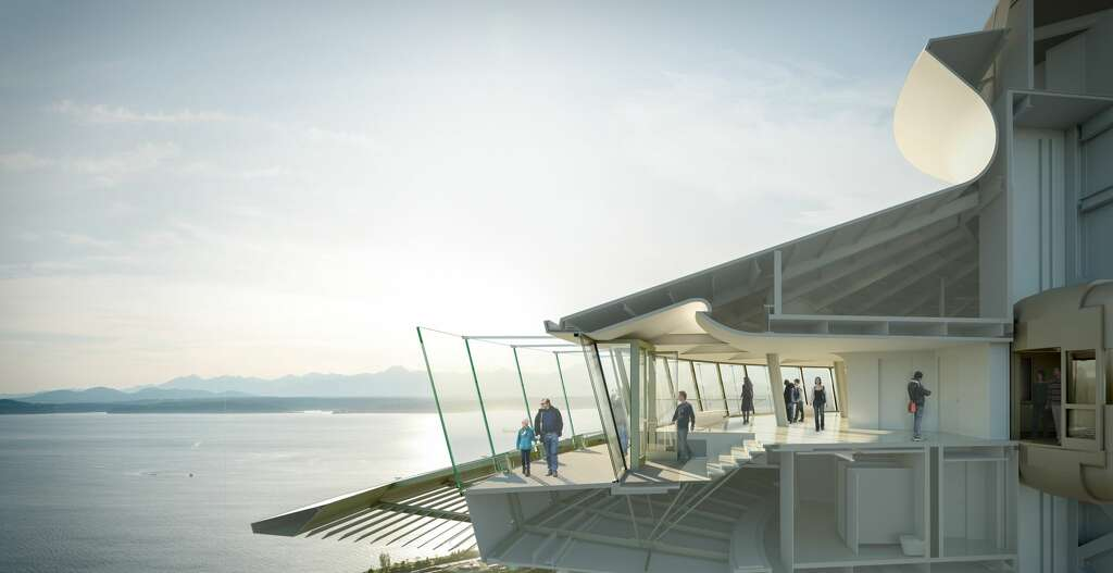 After: A rendering of the redesigned Space Needle. The Space Needle announced details of a $100 million renovation Monday, June 12, 2017. Photo: Olson Kundig